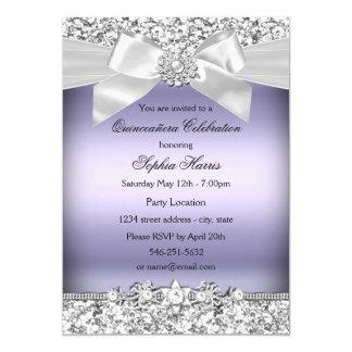 Silver Purple Glitter & Jewel Bow Quinceanera Card