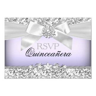 Silver Purple Glitter & Jewel Bow Quinceanera RSVP 3.5x5 Paper Invitation Card