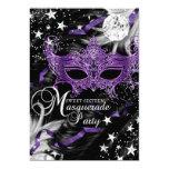 Silver Purple Mask Star Night Masquerade Sweet 16 5x7 Paper Invitation Card