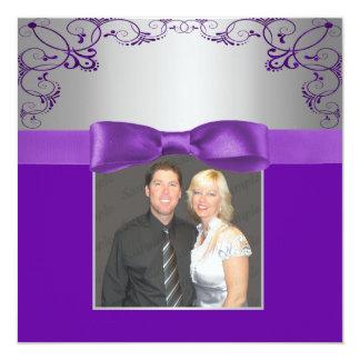 Silver & Purple Scrollwork Wedding Card