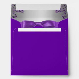 Silver & Purple Scrollwork Wedding Envelope