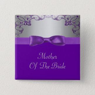 Silver & Purple Scrollwork Wedding Pinback Button