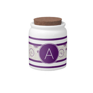 Silver Purple Sewing Pattern with Monogram Candy Jars