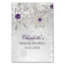 silver purple snowflakes bridal shower bingo cards