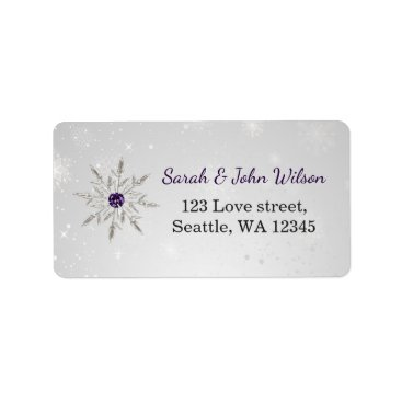 silver purple snowflakes return address label