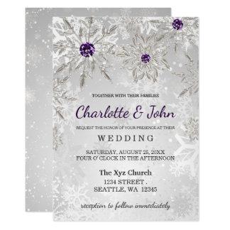 silver purple snowflakes winter wedding invitation