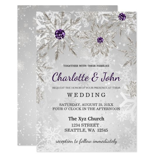 silver purple snowflakes winter wedding invitation | Zazzle.com