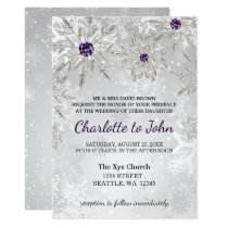 silver purple snowflakes winter wedding invitation