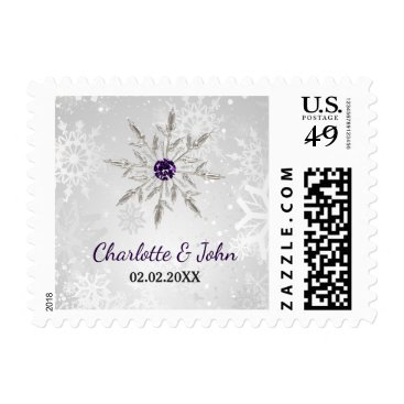 silver purple snowflakes winter wedding postage