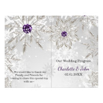 silver purple snowflakes winter wedding program