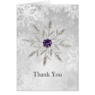 silver purple snowflakes winter wedding Thank You Card