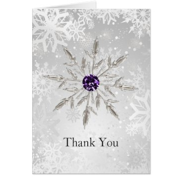 silver purple snowflakes winter wedding Thank You Card