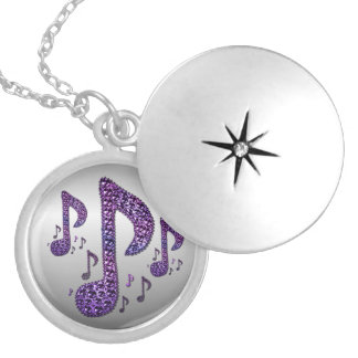 Silver Purple Sparkle Music Notes Locket