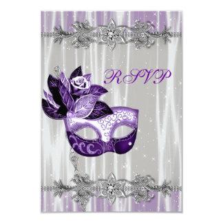 Silver Purple Sparkle Purple Masquerade Party RSVP Card