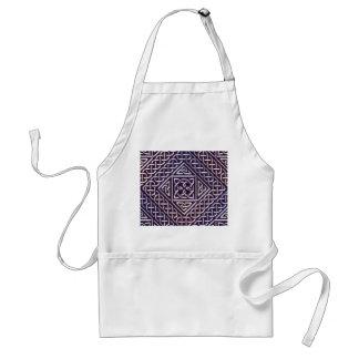 Silver Purple Square Shapes Celtic Knots Pattern Adult Apron