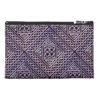 Silver Purple Square Shapes Celtic Knots Pattern Travel Accessories Bags