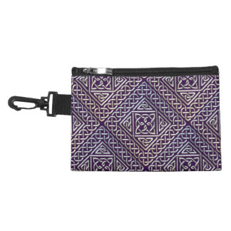 Silver Purple Square Shapes Celtic Knots Pattern Accessory Bags