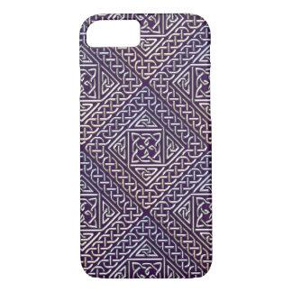 Silver Purple Square Shapes Celtic Knots Pattern iPhone 7 Case