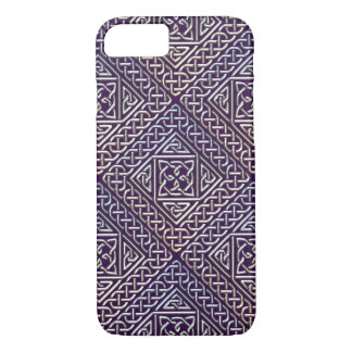 Silver Purple Square Shapes Celtic Knots Pattern iPhone 8/7 Case