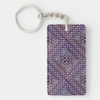Silver Purple Square Shapes Celtic Knots Pattern Double-Sided Rectangular Acrylic Keychain