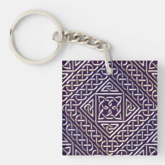 Silver Purple Square Shapes Celtic Knots Pattern Keychain