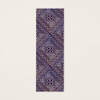 Silver Purple Square Shapes Celtic Knots Pattern Mini Business Card