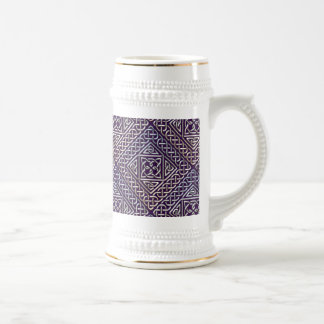 Silver Purple Square Shapes Celtic Knots Pattern 18 Oz Beer Stein