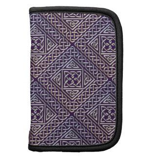 Silver Purple Square Shapes Celtic Knots Pattern Folio Planners
