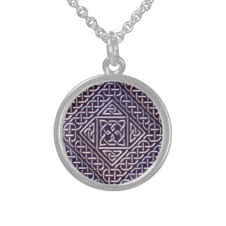 Silver Purple Square Shapes Celtic Knots Pattern Round Pendant Necklace