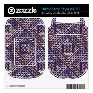 Silver Purple Square Shapes Celtic Knots Pattern Skins For BlackBerry