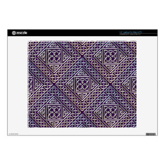 "Silver Purple Square Shapes Celtic Knots Pattern Skins For 14"" Laptops"