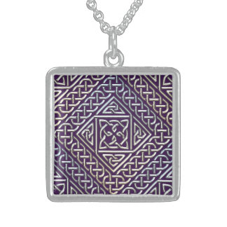 Silver Purple Square Shapes Celtic Knots Pattern Square Pendant Necklace