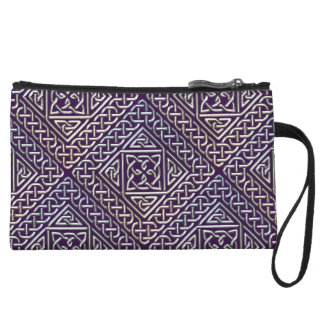 Silver Purple Square Shapes Celtic Knots Pattern Wristlet Wallet