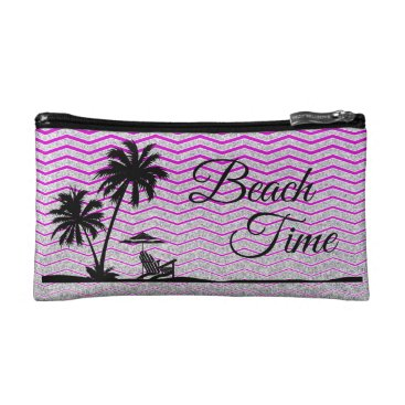 Beach Themed Silver Purple Strip Beach cosmetic bag