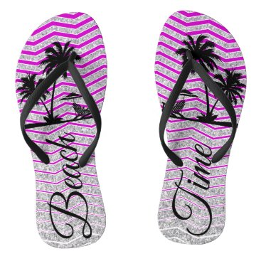 Beach Themed Silver Purple Strip Beach Flip Flop