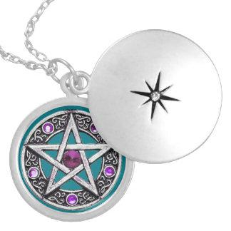 Silver, Purple & Teal Pentagram Locket Necklace