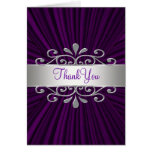 Silver Purple Velvet Purple Thank You Cards