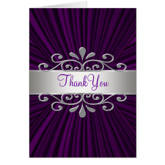 Silver Purple Velvet Purple Thank You Cards