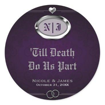 Halloween Themed Silver & Purple Vintage Gothic Halloween Wedding Classic Round Sticker
