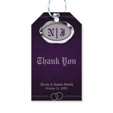 Halloween Themed Silver & Purple Vintage Gothic Halloween Wedding Gift Tags