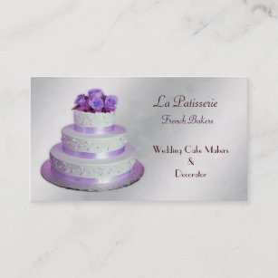 Silver Purple Wedding Cake Makers Business Cards