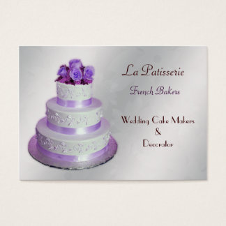 silver purple WeddingCake makers business Cards