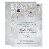 silver purple Winter Bridal Shower Invite