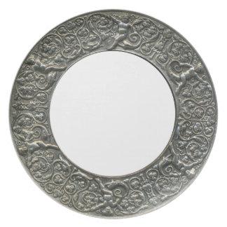 Silver Putti Border frame Melamine Plate