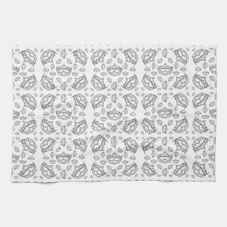 Silver Queen of Hearts crown tiara kitchen towel