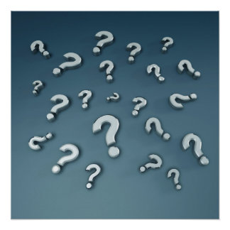 silver question marks poster