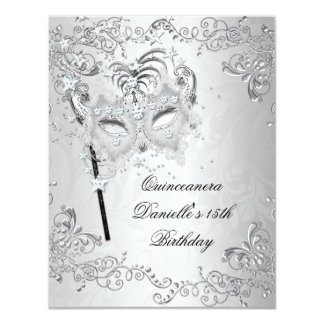 Silver Quinceanera 15th Birthday Masquerade Custom Invitation
