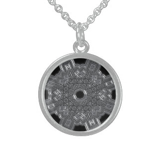 Silver Radical Round Pendant Necklace