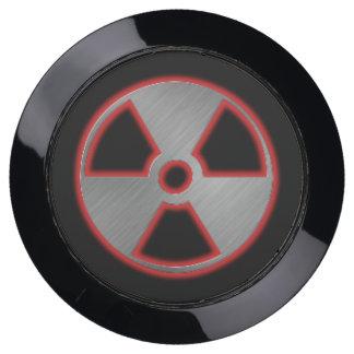 silver radioactive sign USB charging station