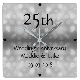 Silver Raindrops 25th Wedding Anniversary Square Wall Clock